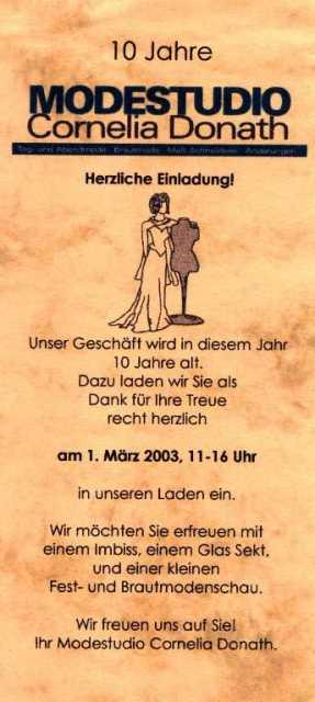 2003 10 Jahre Modestudio Einladung